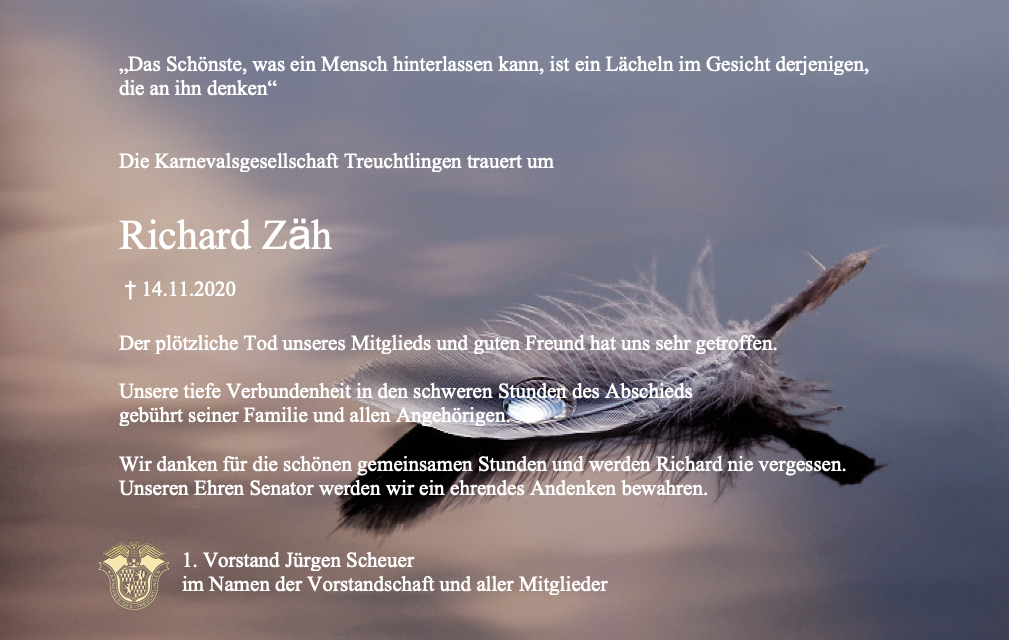 Trauer um Richard Zäh